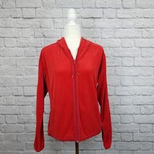Tommy Hilfiger vintage velour red zip up hoodie